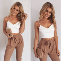 Condole to take back the heart with leisure trousers two-piece outfit