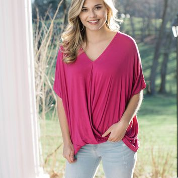 Darling Wrap Front Top, Raspberry