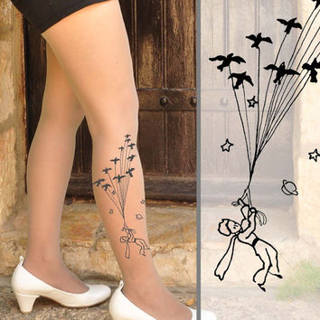 The Little Prince Tattoo Tights - size S / M / L / XL  full length tattoo leggings -Nude,Vanilla,Mocha