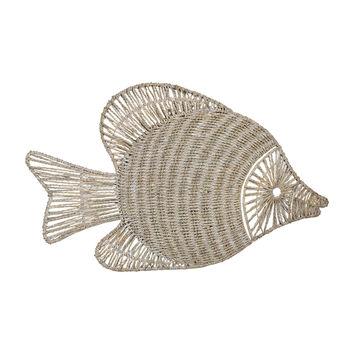 Wicker Fish Wall Décor White Washed Wicker