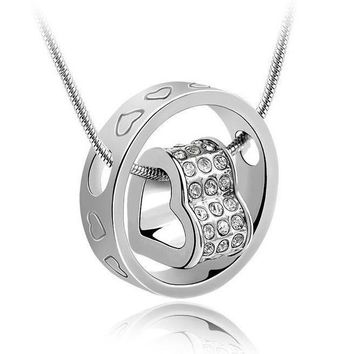 Silver Fashion Heart and Circle Pendant Necklace Fine