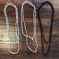 Pearl Long Bead Necklaces ~ Black only
