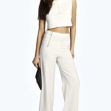 Lina Woven D- Ring Detail Wide Leg Trousers