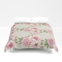 pink peony pattern Duvet Cover by sylviacookphotography