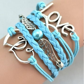 Love bracelet,Pearl bracelet,Bird Bracelet,light blue bracelet,Couples bracelet,lover bracelet,leather bracelet,fashion hipsters jewelry,braided bracelet,simple bracelet