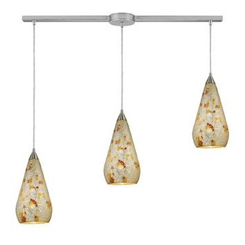 Elk Lighting 546-3L-SLVM-CRC Curvalo Satin Nickel Three-Light Mini Pendant with Silver Multi Crackle Glass