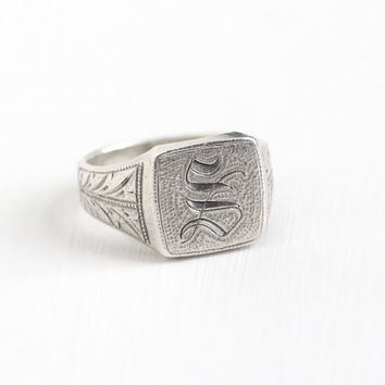 Vintage Silver Art Deco Letter S Signet Ring - Antique Art Deco Men's 1920s Size 9 3/4 Wheat Motif Monogrammed Initial Statement Jewelry