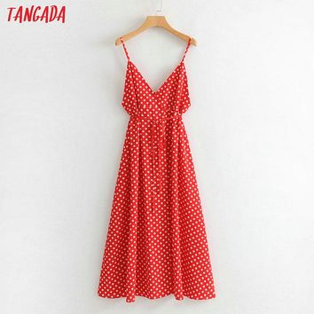 Tangada elegant polka dot dress korea fashion women sleeveless sashes leg open long maxi dresses beach brand vestidos SY80