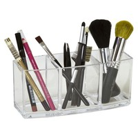 3 Clear Compartment Brush and Pencil Holder