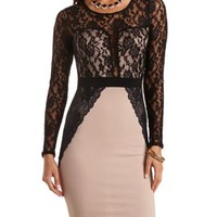Lace & Scuba Knit Bodycon Dress by Charlotte Russe - Nude Combo