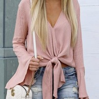 Pink Knot Flare Sleeve V-neck Going out Casual Blouse