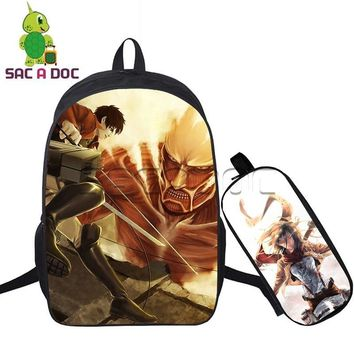 Cool Attack on Titan 2 Pcs/set Women Backpack Cool Anime  Travel Bags Eren Levi Mikasa School Bags for Teenage Girls Boys Notebook AT_90_11