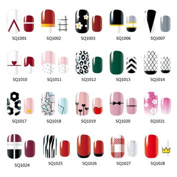 NEW 14 Tips NAIL Art Full Cover Self Adhesive Stickers Polish Foils Tips Wrap Decal Manicure Lattice Geometric Zig Zag