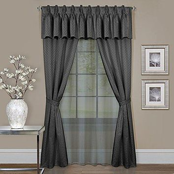 Ben&Jonah Collection Claire 6 Pc Window Curtain Set - 55x84 - Charcoal