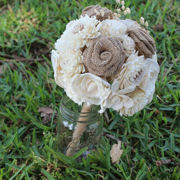 ON SALE THROUGH 5/5 Small Alternative Flower Bridal Bouquet, Rustic Vintage Wedding, Outdoor Wedding, Country Wedding
