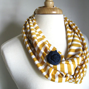Modern Stretch Infinity Scarf : Mustard and White Stripes with Removeable Flower Brooch in Navy Blue - Spring Scarf