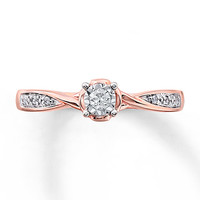 Diamond Promise Ring 1/10 ct tw Round-cut 10K Rose Gold