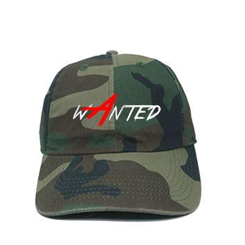 ARMY FATIGUE GRAFFITI RED A WANTED DAD HAT