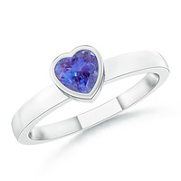 Solitaire Bezel Heart Tanzanite Promise Ring