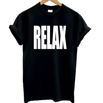 Women Tshirt RELAX Letters Print Cotton Casual Funny Shirt For Lady White Black Top Tee Harajuku Hipster Street Wear ZT203-111