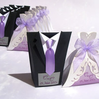 Bridal Wedding Favors Candy Boxes, Tuxedo Candy Box, Wedding Dress Candy Box, Bridal Gown Candy Box, Handmade Candy Box