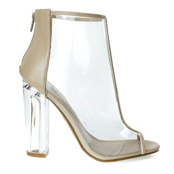 Hyphen01S Beige Pvc by Bamboo, Clear See Through Jelly Transparent Ankle Booties, Perspex Block Heel