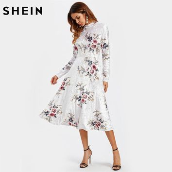 Floral Crushed Velvet Elegant Fitted and Flared Dress Women White Band Collar Long Sleeve A Line Floral Dress