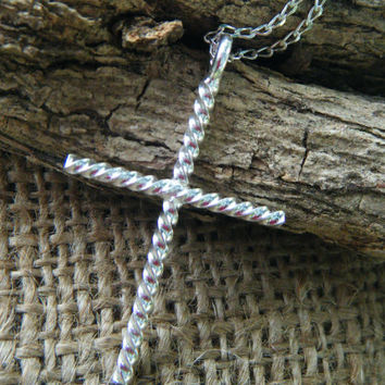 Hand Twisted Sterling Silver Cross, handmade with twisted silver wire WITH CHAIN