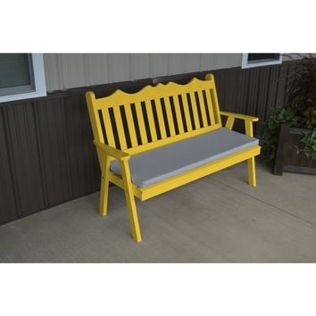 A & L Furniture Co. Yellow Pine 5' Royal English Garden Bench  - Ships FREE in 5-7 Business days
