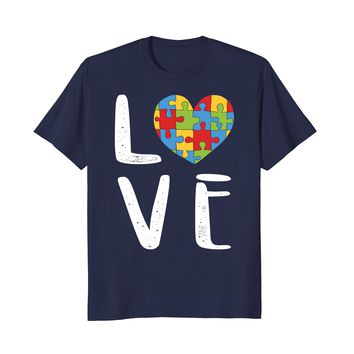 Autism Awareness Women Mom Love Puzzle T Shirt 2018