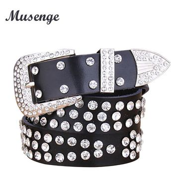 MUSENGE Belts For Women Belt Leather Woman Punk Rhinestone