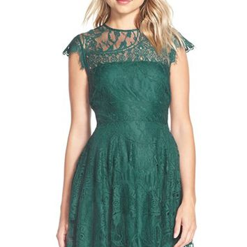 Women's BB Dakota 'Rhianna' Illusion Yoke Lace Fit & Flare Dress (Nordstrom Exclusive)