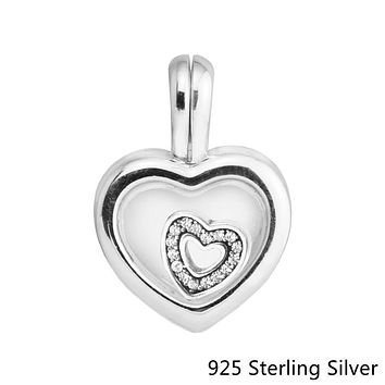 Beads Fits Pandora Bracelets 925 Sterling Silver Jewelry Floating Heart Locket, Sapphire Crystal Glass Original Charms CKK