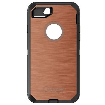 DistinctInk™ OtterBox Defender Series Case for Apple iPhone / Samsung Galaxy / Google Pixel - Orange Stainless Steel Print