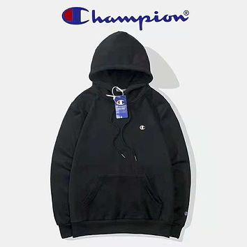 Champion High Quality Autumn And Winter New Fashion Bust Embroidery Logo Couple Long Sleeve Hooded Sweater Top Black
