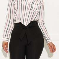 What You Need Striped Blouse Off White And Red