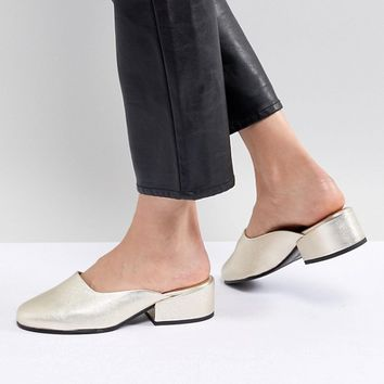 Selected Leather Metallic Mule at asos.com