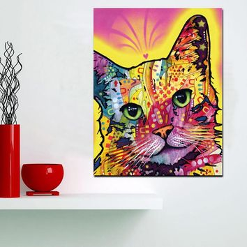 Pop Art Cat Wall Art on Canvas