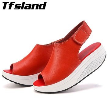 Summer Women Peep Toe Sandals Ladies Platform Wedges Swing Shoes Leather Walking Sandalias Soft Zapatos Running Shoes Sneakers