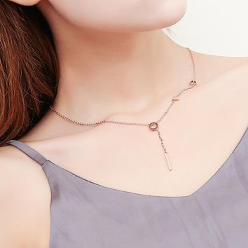Simple Love Letter Tassel Y Shaped Necklace For Women Rose Gold Color New Fashion Jewelry Accessories Titanium Steel Necklace