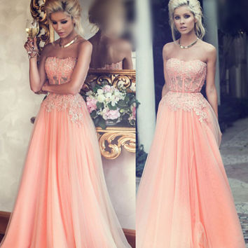 Strapless Prom Dresses,Chiffon Prom Dress,Long Evening Dress