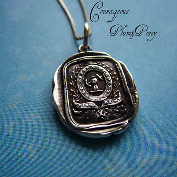 Courage and Challenge Wax Seal Necklace in by PlumAndPoseyInc