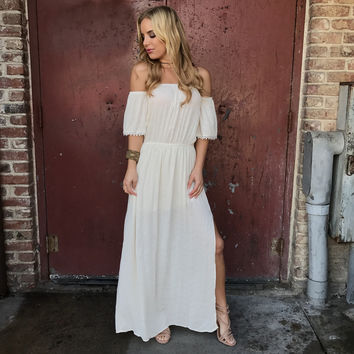 Off Shore Off Shoulder Maxi Dress In Cream