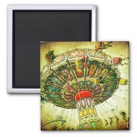 Vintage retro green sky carnival swing ride photo magnet
