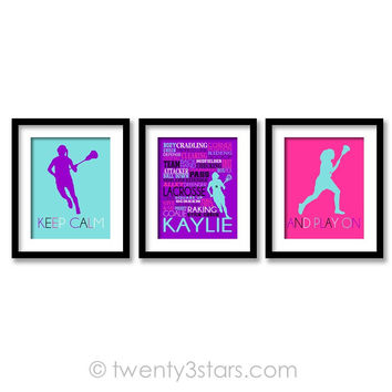 Girl's Lacrosse Wall Art Trio - Choose Any Colors - twenty3stars
