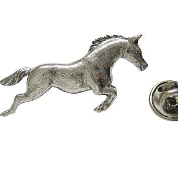 Silver Toned Textured Horse Lapel Pin
