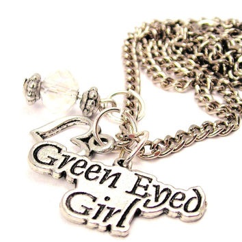 Green Eyed Girl Necklace with Small Heart