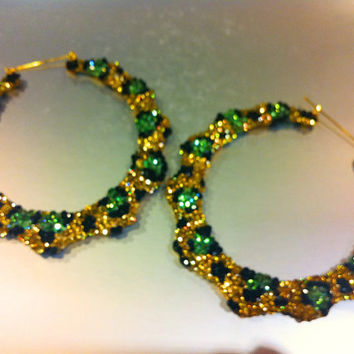 "Bling Bamboo hoop earrings 4"" Gold leopard crystal handmade w/ Swarovski element"