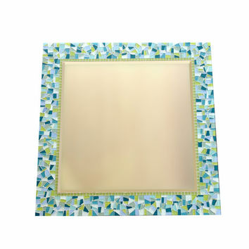 Aqua and Lime Green Mosaic Mirror, Square Wall Mirror