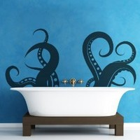 Giant Octopus Tentacles Wall Decal Sticker by Stickerbrand 27in X 60in ★ Easy to Apply and Removable ★ Made in the USA ★ No Mess, No Paint, No Glue or Paste, No Residue ≈ Safer than wallpaper ★ Black color